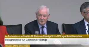 Screengrab of the Minister of State at the Department of the Gaeltacht Dinny McGinley at the Oireachtas sub-committee on the 20-Year Strategy for the Irish Language this afternoon.