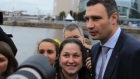 Vitali Klitschko visits Ukrainian rally in Dublin. Klitschko is in Ireland for the annual congress of the European Peoples' Party.
