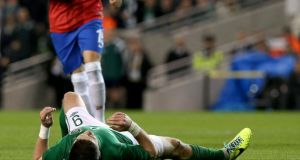 Republic of Ireland's Shane Long reacts to another missed chance in Wednesday's game against Serbia.