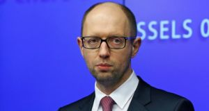 "Ukrainian prime minister Arseny Yatseniuk, who met the EU leaders, told reporters that Ukraine was ""ready to protect"" its country. Photograph: Reuters"