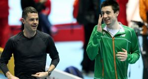 Ireland's David McCarthy and Mark English  get a feel for the track at the Ergo Arena. Photograph:   Adam Jastrzebowski/Inpho