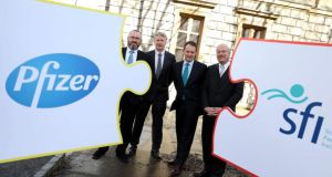 From left: Dr William Finlay, director of global biotherapeutics technologies, Pfizer; Dr Paul Duffy, vice-president, Pfizer; Minister for Research and Innovation Seán Sherlock, and Prof Mark Ferguson, director general, Science Foundation Ireland (SFI)