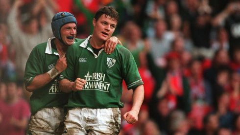 A youthful Brian O'Driscoll playing for Ireland against Wales in 2001. Here he is being congratulated by David Humphreys after scoring Ireland's second try in a game on October 13th. Photograph: Patrick Bolger/Inpho