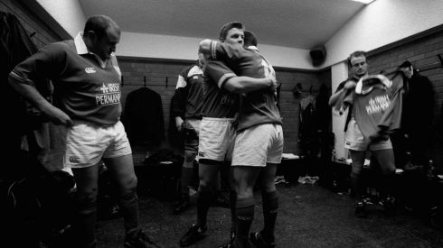 BOD hugs Kevin Maggs in the dressing room in 2002. Photograph: Billy Stickland/Inpho