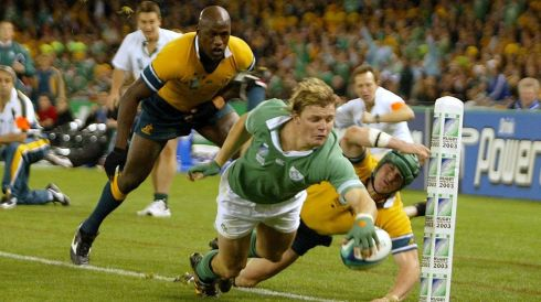 Taking a try in the Rugby World Cup against Australia on 1/11/2003. Photograph: Morgan Treacy/Inpho