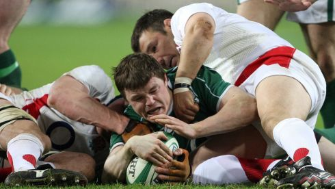 A try is gained against England during the Six Nations Championship in February 2009. Photograph: Billy Stickland/Inpho
