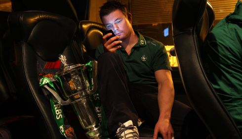 With the Six Nations trophy on the Ireland team bus in March 2009. Photograph: Billy Stickland/Inpho