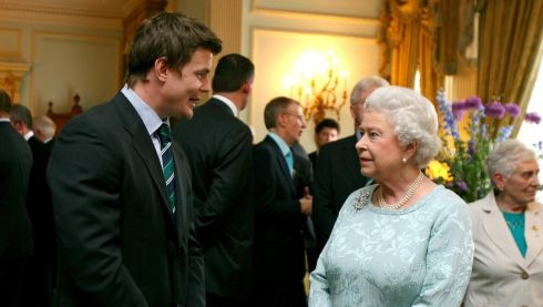 Captain Brian O'Driscoll talks with Queen Elizabeth at a civic reception to honour the Grand Slam-winning Ireland Team on May 7th, 2009. Photograph: Dan Sheridan/Inpho