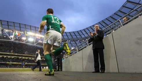 Running onto the pitch during the Six Nations in March 2011. Photograph: Billy Stickland/Inpho