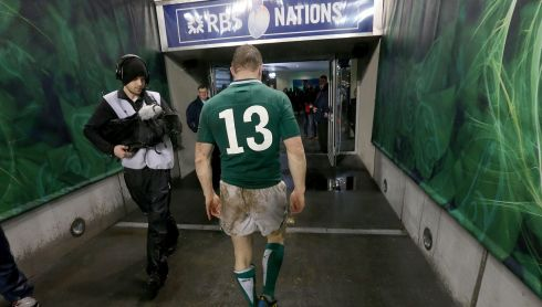 The end of the game: leaving the field after a Six Nations game against France on  9/3/2013.  Photograph: Billy Stickland/Inpho