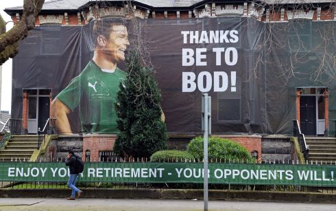 A large poster tribute to the rugby star at Northumberland road , Ballsbridge, Dublin, in March 2014. The Ireland centre was shortly to  play his last game on home turf in an Irish shirt at Lansdowne Road (Aviva stadium) , in a Six Nations game against Italy. Photograph:  Eric Luke/The Irish Times