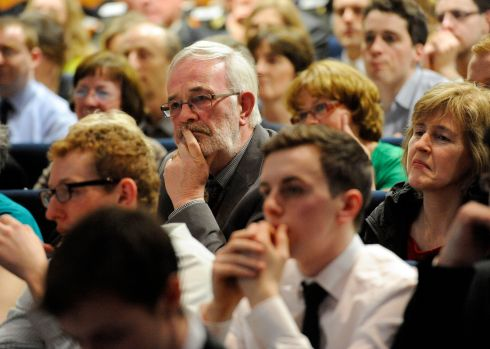 Members of the audience at the Irish Times Debate Final 2014.  Photograph: DAVE MEEHAN