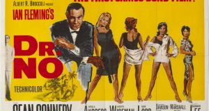 "A 1962 poster for the first James Bond movie, Dr No, with a dress hand-painted over the original bikini-clad image of Ursula Andress, and described by the auctioneers as ""the dying vestige of Irish censorship"" (€600-€800)."
