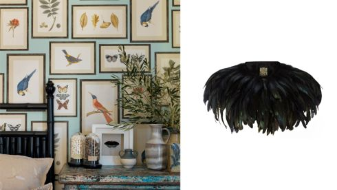 Picture gallery wallpaper, €84 per 10m roll, Sanderson at Haven Interiors, Raheny  Black feather cape, €79, Biba at House of Fraser