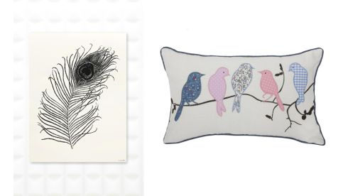 Peacock feather wall art, €5, Urban Outfitters Birds on a Branch Oblong Cushion, €8, Penneys