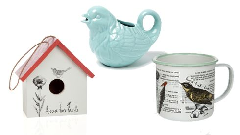 Bird House, €26.95, The Garden, Powerscourt Townhouse Bird Creamer, €6, Dunnes Stores Metal Garden Mugs, €9.95 each, The Garden, Powerscourt Townhouse