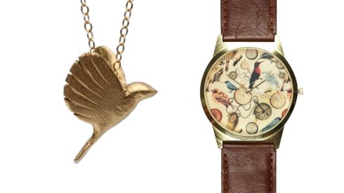 I am a free bird necklace, €119, Chupi Sweetman Pell at coldlilies.com Watch, €25, River Island