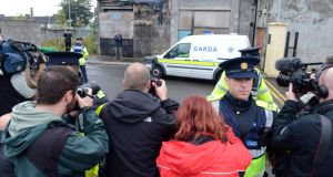 Outside court: the scene in Longford in October 2013, when the man was charged. Photograph: Cyril Byrne
