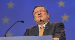 President of the European Commission Jose Manuel Barroso addressing the European Peoples Party 2014 elections congress in the Convention Centre in Dublin. Photograph: Alan Betson/The Irish Times