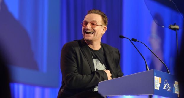 U2 singer Bono addresses the European People's Party election congress in the Convention Centre in Dublin yesterday. Photograph: Alan Betson / The Irish Times