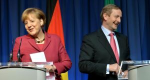 Chancellor Angela Merkel and Taoiseach Enda Kenny at yesterday's press conference in Goverment Buildings. Photograph: David Sleator
