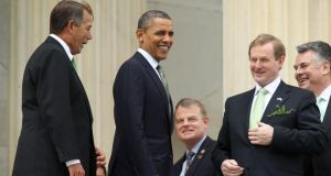 Taoiseach Enda Kenny with US president Barack Obama on St Patrick's Day 2012.  The annual chorus of outrage about the St Patrick's Day ministerial exodus has been more muted than usual this year but that hasn't stopped the Government adopting its traditional, defensive posture. Photograph: Alex Wong/Getty Images