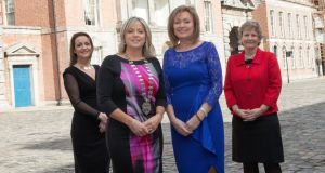 Top business women celebrate International Women's Day at Dublin Castle. Left to right are Felicity McCarthy (Spark Digital), Mary Fehly Hobbs (president, Network Ireland), broadcaster Mary Kennedy, and Anne O'Mahony of Concern. Photograph: Suzanne Thompson/Circus Photography