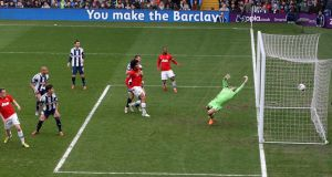 Manchester United's Phil Jones scores his team's opening goal. Photograph: Nick Potts/PA Wire.