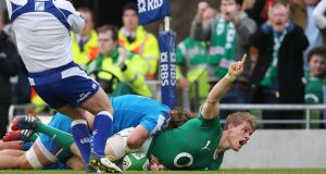 Ireland's Andrew Trimble celebrates scoreing their second try.  Photograph: Billy Stickland/Inpho