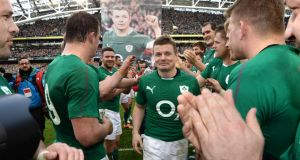 Brian O'Driscoll, after playing his 140th International Test game and his last home International game for Ireland  at the Aviva Stadium, Dublin. Photograph: Dara Mac Dónaill / Irish Times