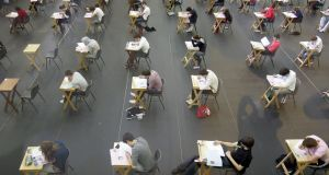 Students undertaking the Leaving Certificate Examinations on the first day of the 2011 state exams. Photograph: Alan Betson/The Irish Times