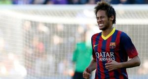 Barcelona's Neymar shows his frustration during the La Liga defeat to   Valladolid at Jose Zorilla stadium. Photograph: Sergio Perez/Reuters