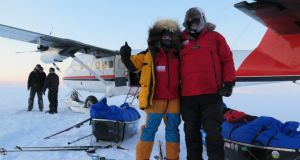 Clare O'Leary and Mike O'Shea getting dropped off by plane at the starting point of their North Pole expedition. Photograph: Lifeproof ice project