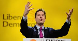 Britain's deputy prime minister Nick Clegg, leader of the Liberal Democrats, delivers his keynote address to the party's spring conference in York. Photograph: Jeff J Mitchell/Getty Images