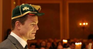 Brian O'Driscoll who received a cap for his world record of 140 caps at the IRFU dinner after the match. Photograph: Billy Stickland/Inpho