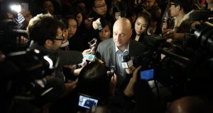 Malaysia Airlines executive Hugh Dunleavy  speaks to the media at the Lido Hotel in Beijing yesterday. Photograph: Lintao Zhang/Getty Images