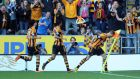 David Meyler  celebrates after scoring Hull's second goal yesterday
