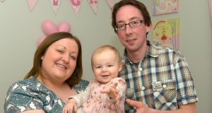 Lyndsey and Paul Turner pictured with their daughter, Alice, who they are hoping to enrol on a trial in the United States to treat her neuroblastoma.