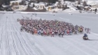 Bright blue skies and perfect skiing conditions greeted 13,000 skiers at the start of the annual Engadin Skimarathon around the Maloja area of Switzerland on Sunday (March 9).