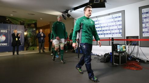 Brian O'Driscoll leads out the team. Photograph: Dan Sheridan/Inpho