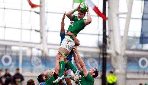 Iain Henderson wins the ball from a lineout. Photograph: Cathal McNaughton/Reuters