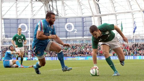 Jonathan Sexton touches down his second try. Photograph: Colm O'Neill/Inpho