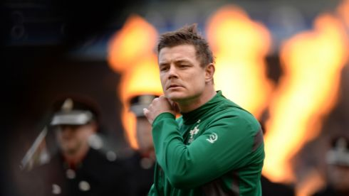 Brian O'Driscoll during his 140th international test game as rugby's most capped Test player on what was his last home international appearance for Ireland, at the RBS Six Nations match against Italy at the Aviva Stadium, Dublin, on March 8th, 2014. Photograph: Dara Mac Dónaill/The Irish Times