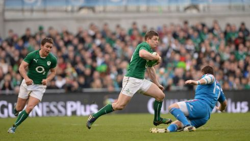 In action on the field. Photograph: Dara Mac Dónaill/The Irish Times