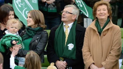 Brian O'Driscoll's family at the game - his wife Amy holding daughter Sadie, and his parents  Frank and Geraldine. Photograph: Dara Mac Dónaill/The Irish Times