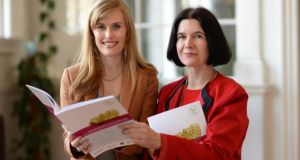 Dr Stephanie O'Keeffe, National Director of Health and Wellbeing, HSE (left) with Prof Cecily Kelleher from UCD at the launch of the HSE's Childhood Obesity Surveillance data, in Dublin. Photograph: Dara Mac Dónaill/The Irish Times