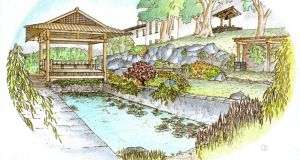 Coloured perspective view of the proposed Japanese garden by Mike Roberts, FRIAI