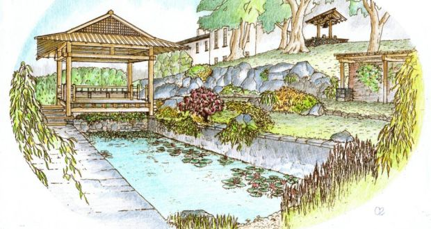 coloured perspective view of the proposed japanese garden by mike roberts friai
