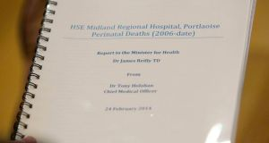 News of the latest death comes days after the  publication of a report by Dr Tony Holohan, chief medical officer with the  Department of Health into perinatal deaths at the HSE Midland Regional Hospital. Photograph: Gareth Chaney/Collins
