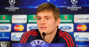 Toni Kroos addresses the media during a press conference ahead of their Champions League tie against Arsenal.